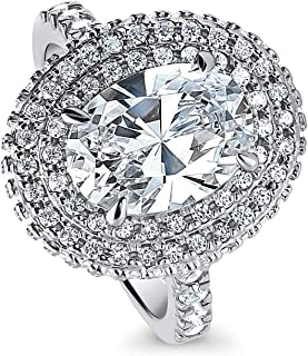 Rhodium Plated Sterling Silver Oval Cut Cubic Zirconia CZ Statement Halo Engagement Ring 4.15 CTW