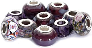 BRCbeads Top Quality 10Pcs Mix Silver Plate Amethyst Theme Murano Lampwork European Glass Crystal Charms Beads Spacers Fit Troll Chamilia Carlo Biagi Zable Snake Chain Charm Bracelets.