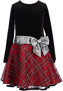 Stretch Velvet to Glitter Flock Drop Waist Holiday Girls Dress