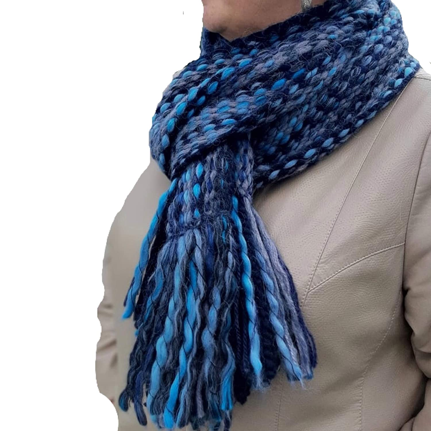 Dark Blue Handmade Winter Scarf - and Comfortable Ma Credence Warm Soft New item