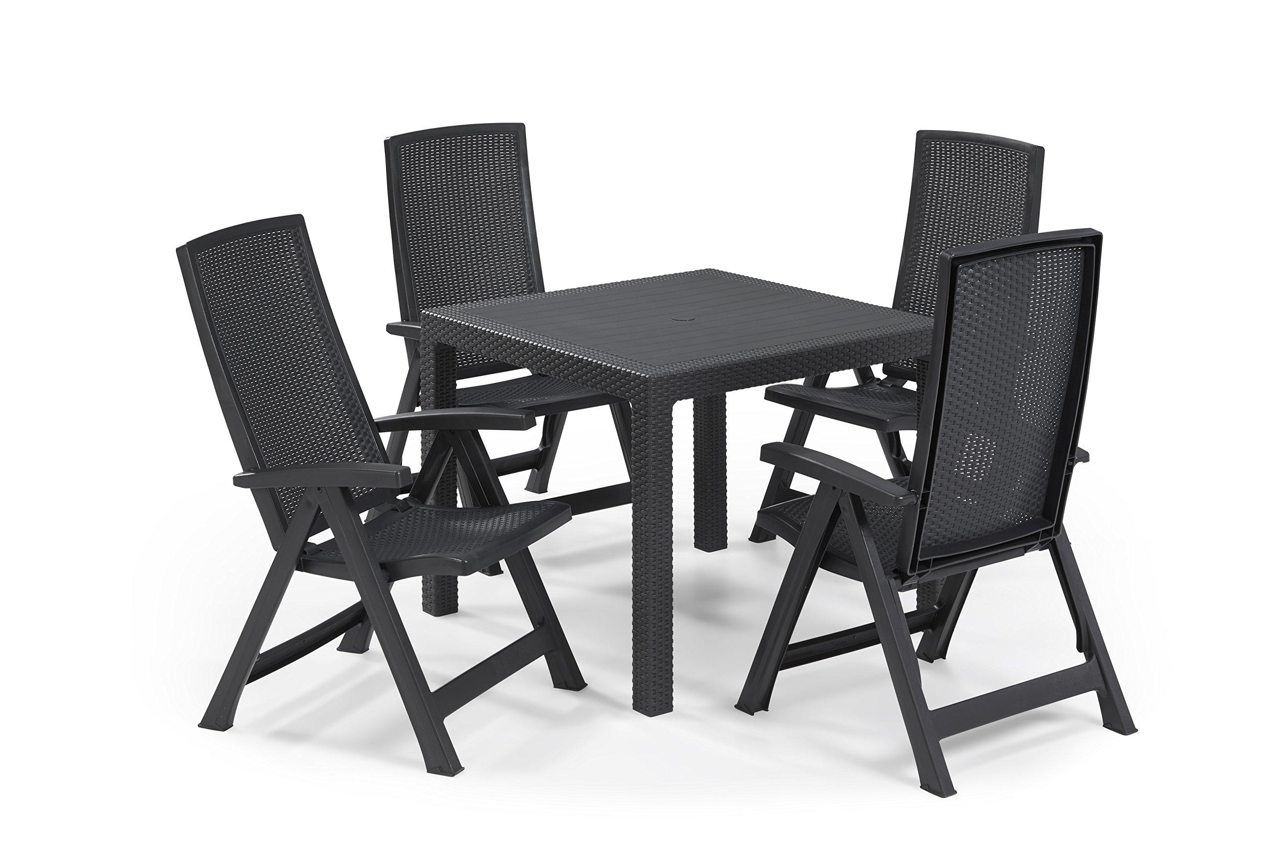 Keter - Set de mobiliario de jardín Quartet/Montreal (mesa + 4 sillas), color grafito: Amazon.es: Jardín