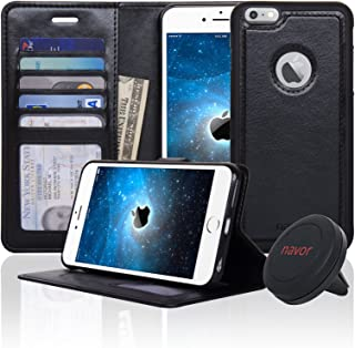 Navor Detachable Magnetic Wallet Case & Universal Car Mount Compatible for iPhone 6 Plus/ 6s Plus [RFID Theft Protection] JOOT-1L Series - Black