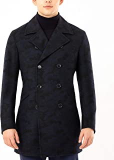 Men's Regular Camouflage Ten-Button Peacoat, Navy/Black