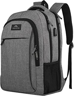 17 Inch Laptop Backpack, MATEIN TSA Large Backpack for Travel and Business with USB Charger Port, Water Resistant Big Flight Approved Weekender Carry-On Backpack with Luggage Sleeve for Women and Men