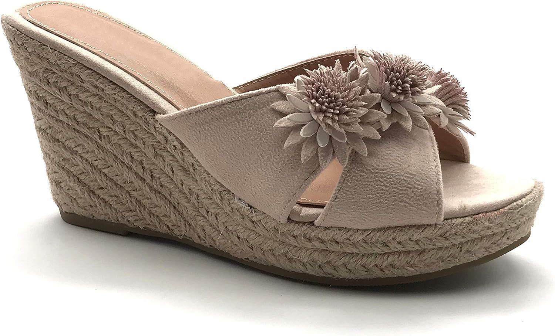 Chaussure Mode Nu-Pieds Sandale de Plage Boh/ème Hippie Femme /élastique Perle azt/èque Talon Bloc 2 CM Angkorly