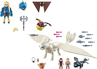 Playmobil Light Fury with Baby Dragon and Children and Astrid with Hobgobbler
