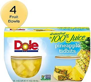 DOLE FRUIT BOWLS, Pineapple Tidbits in Juice, 4 Cups