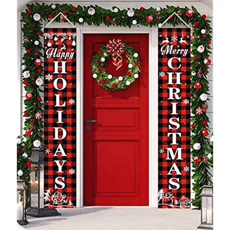 Merry Christmas Porch Signs for Front Door Yard Home Decor Hanging Banners Flag D Christmas Decorations Indoor Outdoor Lshylock Christmas Porch Sign