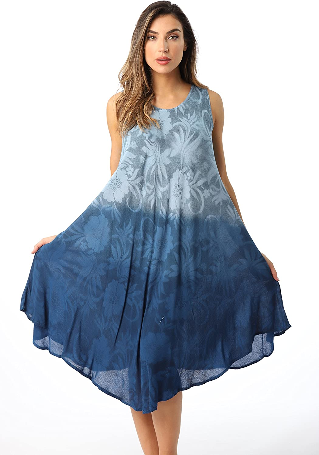 Riviera Sun Ombre Tie Dye Summer Dress with Floral Painted Desig