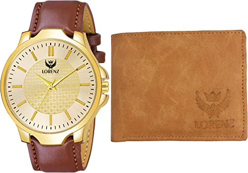 Men s Analog Golden Dial Watch Tan Wallet Combo
