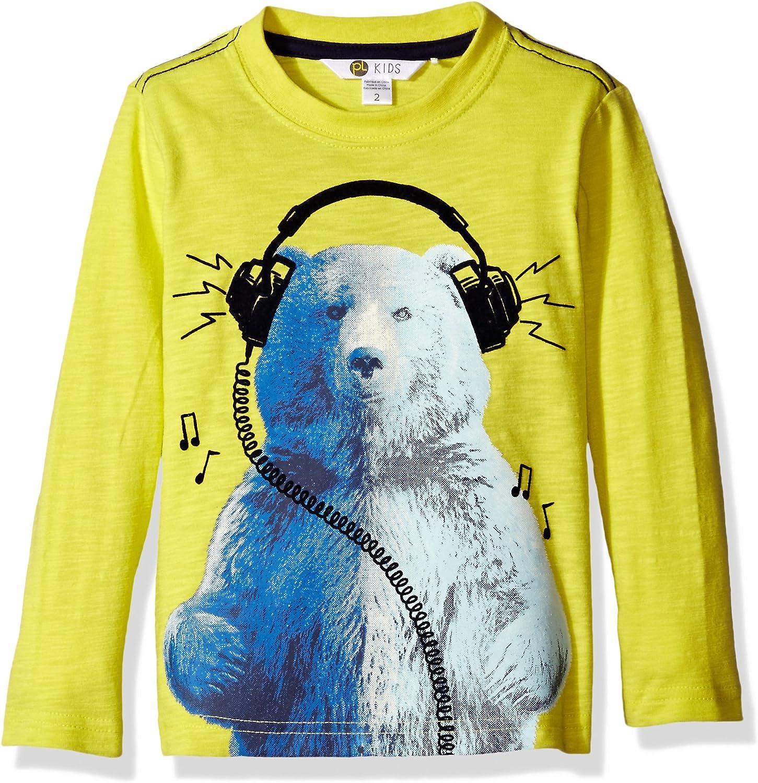 Petit Lem Boys' Polar Bear with Headphones Long Sleeve T-Shirt