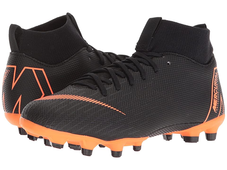 Nike Kids Superfly 6 Academy MG Soccer (Little Kid/Big Kid) (Black/Total Orange/White) Kids Shoes