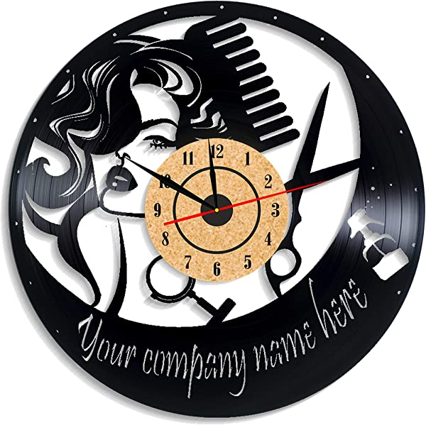 Levescale TM Hairdresser Vinyl Wall Clock Vintage Style For Her Girl Man Decoration For Living Room Salon Hairdresser Tools Barber Hairstylist Scissors Cut Beauty