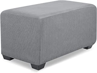 UMAID Ottoman Slipcover Waterproof Water Repellent Jacquard Polyester Stretch Fabric Rectangle Folding Storage Stool Foot Rest Ottoman Cover Furniture Protector for Living Room (Large/X-Large, Grey)