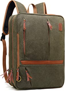 Convertible Messenger Bag Backpack Shoulder Bag Laptop Case Handbag Business Briefcase Multi-Functional Travel Rucksack Fits 17.3 Inch Laptop for Men/Women (Canvas Green)