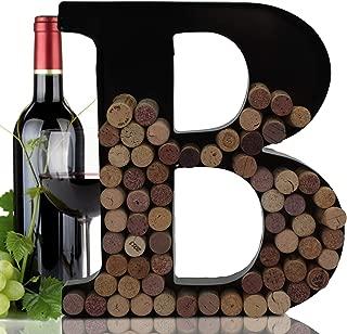 Metal Letter Wine Cork Keepsake Saver & Holder Monogram w/Free Wall Mount Kit A-Z (B)