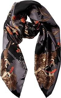 Women's Fashion DRAGON EYE silk scarf | Black