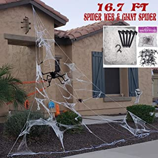 Halloween Decorations Outdoor Triangular Giant Spider Web Props Scary Fake Spiders and Stretch Cobwebs Decor,Yard Lawn Garden Roof Window Haunted House Halloween Party Decor Supplies(16.67 Ft)