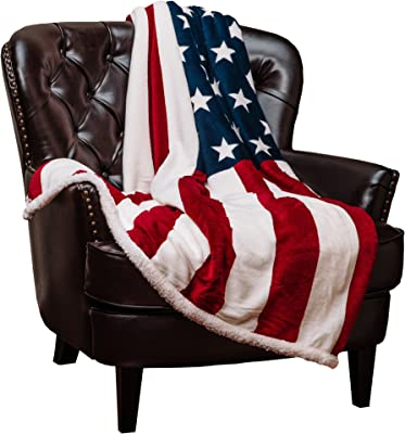Chanasya Patriotic US Flag Print Fleece Sherpa Throw Blanket - Super Soft Ultra Plush Lightweight Microfiber Cozy Warm for Couch Bed Chair Office Sofa - Great Gift for Men Women House - 60 x 75 Inches