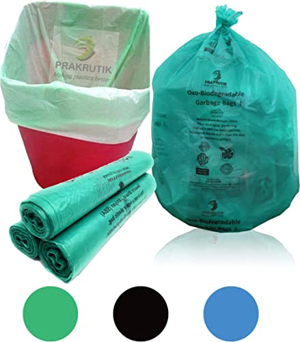 PRAKRUTIK Garbage Bags Biodegradable, Green,(Medium) Size (48cmX56cm),90 Bags (Dustbin Bag/Trash Bag).