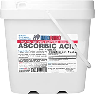 Hard Rhino Ascorbic Acid (Vitamin C) Powder, 5 Kilograms (11 Lbs), Unflavored, Lab-Tested, Scoop Included