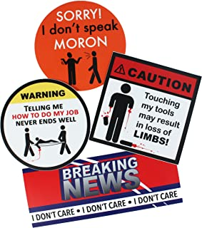 American Redesign Funny Hard Hat Stickers - Funny Tool Box Stickers for Guys, Toolboxes, Tools, Hardhat Stickers, Truck Bumper Stickers (4pk)