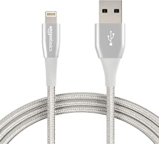 AmazonBasics Double Nylon Braided Apple Certified Lightning to USB Charge and Sync Extra Tough Cable, 6 Feet (1.8 Meters), Pack of 2 - Silver