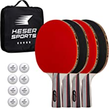 Keser Sports 5-Star Ping Pong Paddle Set – 4 Player Racket Set Bundle with 8 Professional ABS Balls and Portable Storage Bag Included. Advanced Spin, Speed and Control for Indoor/Outdoor Table Tennis
