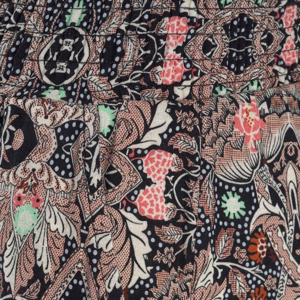 RTYou Elastic Waist Beach Pants for Women Smocked Waist Printed Harem Hippie Boho Yoga Palazzo Loose Pants with Pocket
