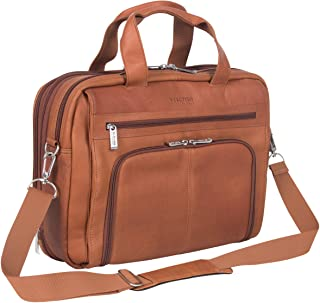 "Kenneth Cole Reaction""Out of The Bag"" Colombian Leather Double Compartment Expandable Top Zip Portfolio/Computer Case/Fits Most 15.4"" Laptops, Cognac (Brown) - 524464"