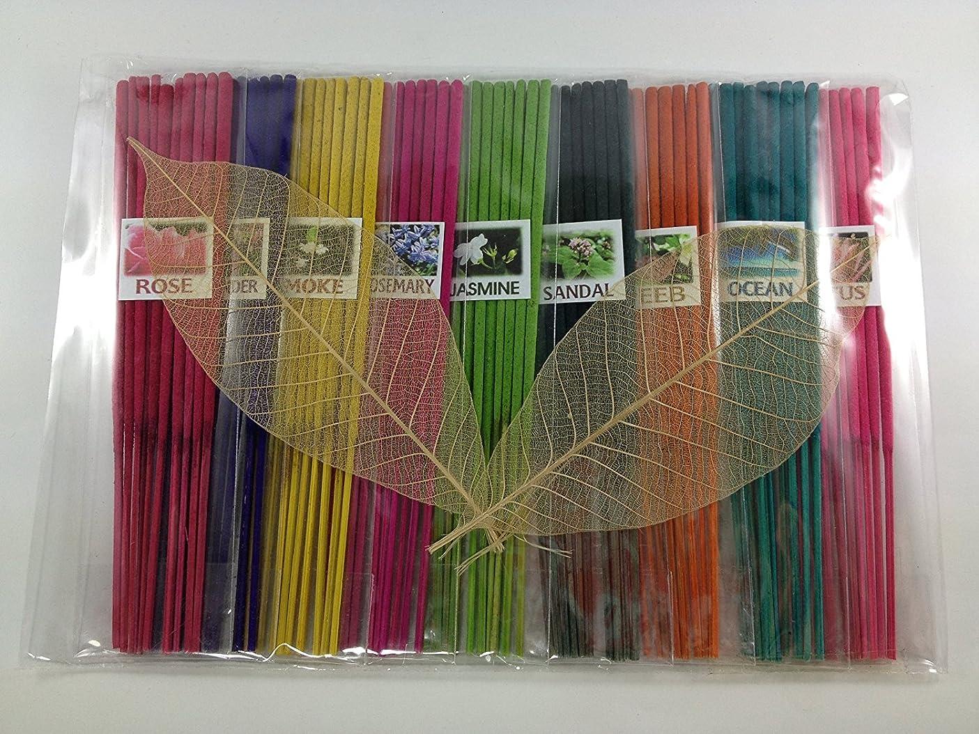 打ち負かす満足できるトレイThai Incense Sticks with 9 Aroma Smell - Moke Rosemary Jasmine Sandal Lotus Ocean Rose Lavender Peeb.