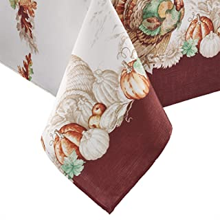 Elrene Home Fashions Holiday Turkey Bordered Fall Tablecloth, 60
