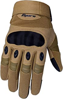 Riparo Tactical Touchscreen Gloves Military Shooting Hunting Rubber Hard Knuckle Outdoor Gloves (Large, Sand)