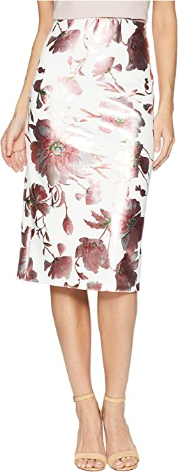 Printed Floral Midi Foil Scuba Skirt