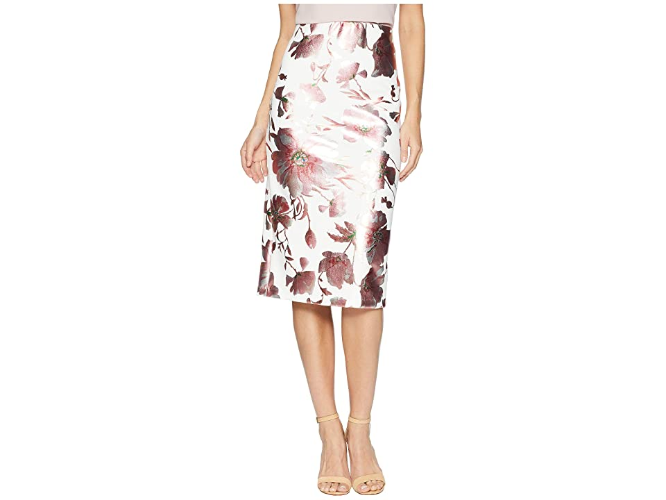 eci Printed Floral Midi Foil Scuba Skirt (Pink/Orange) Women
