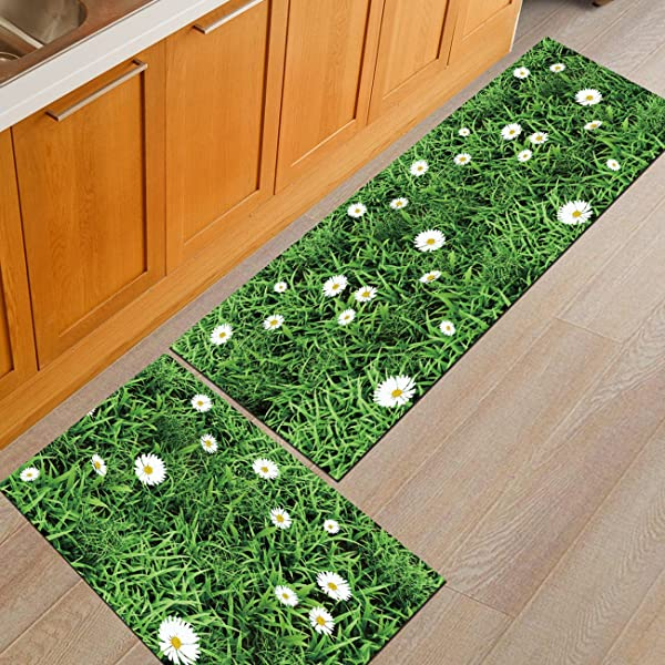 THEE Non Slip Kitchen Mat Rubber Backing Doormat Runner Rug 2pcs Set