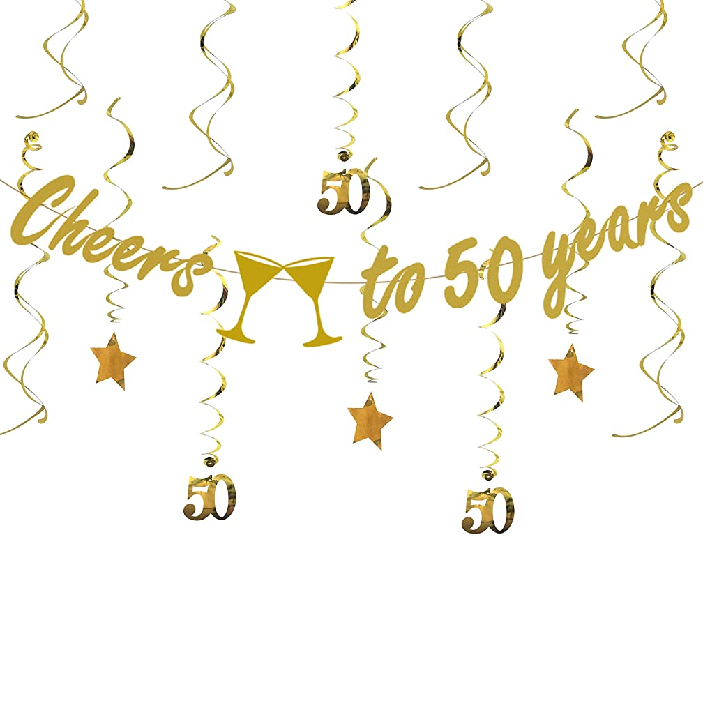 Tuoyi Gold 50th BIRTHDAY PARTY DECORATIONS KIT - Cheers to 50 Years Banner, Sparkling Celebration 50 Hanging Swirls, Perfect 50 Years Old Party Supplies 50th Anniversary Decorations