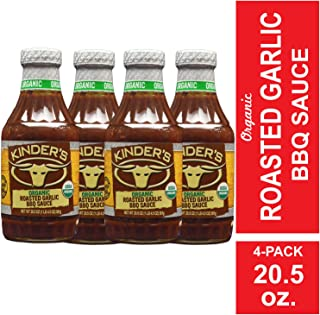 Kinder's Organic Roasted Garlic BBQ Sauce, 4-Pack; 20.5 oz Each; Sweet, Smoky BBQ Flavors with Roasted Garlic; All Natural, Gluten-Free, USDA-Certified Organic Ingredients; No High Fructose Corn Syrup