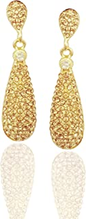Moonstruck Costume Jewelry Chandelier Champagne Diamond Studded Golden Gold Drop and Dangle Earrings for Women