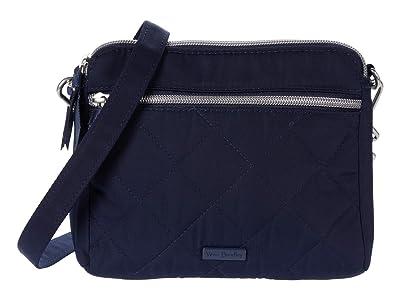 Vera Bradley Performance Twill RFID Medium Triple Compartment Crossbody (Classic Navy) Handbags