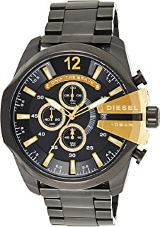 ساعة فخمة ماستر تشيف للرجال من ديزل، بمينا اسود وسوار من الستانلس ستيل موديل Dz4338، كوارتز ياباني، عرض انالوج