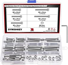 DYWISHKEY 70 Pieces M5 x 20mm/25mm/30mm/35mm/40mm Stainless Steel 304 Hex Socket Head Cap Bolts and Nuts Kit