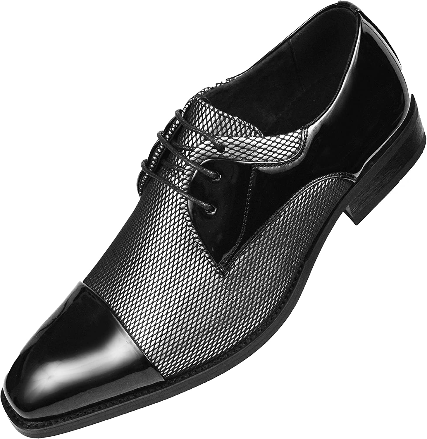 Amali Draper - Mens Shoes, Mens Oxford Shoes - Tuxedo Shoes - Two-Tone, Cap Toe, Lace up - Mens Dress Shoes - Trimmed with Black Satin Runs Small GO 1/2 Size UP