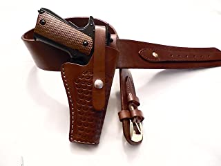 Shotgun Lilli Western Plain Gun Belt with Holster #59 - Burgundy - Tooled Leather - for 1911 Colt, Springfield, Kimber, TISAS, and Others