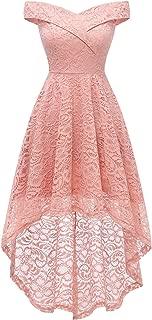 Women's Vintage Off Shoulder Hi-Lo Floral Lace Wedding Cocktail Formal Swing Dress