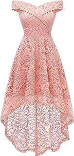 Sponsored Ad - Homrain Women`s Wedding Formal Casual Fall Dresses Off Shoulder Vintage Floral Lace Hi-Lo Bridesmaid Dress