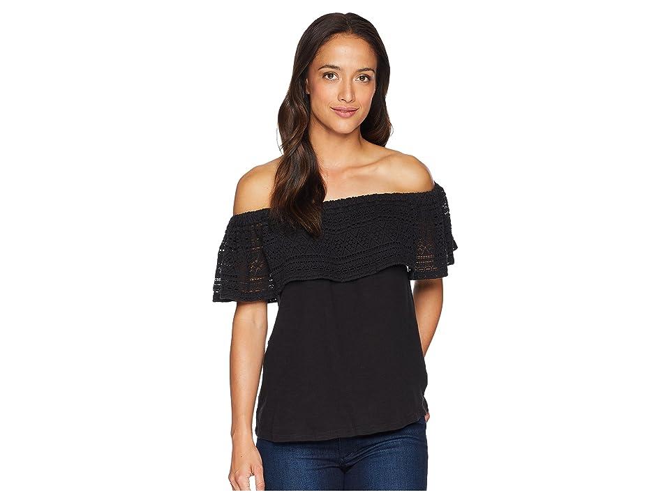 Lucky Brand Crochet Off Shoulder Top (Lucky Black) Women's Short Sleeve Pullover, Multi