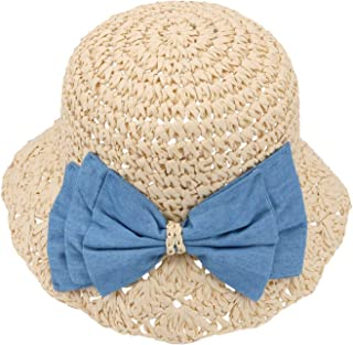 Packable Straw Hat for Little Kids Girls Floppy Summer Straw Sun Hats with Lace Bowknot for Outdoor Anti-UV Travel Beach Fishing