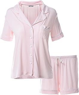 9c7bff2010e7a Matt Viggo Ensemble Pyjama Court pour Femme Col en V Boutonné Haut à  Manches Courtes et
