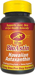 BioAstin Hawaiian Astaxanthin 12mg, 50ct - Supports Recovery from Exercise + Joint, Skin, Eye Health Naturally - 100% Hawaiian Sourced Premium Antioxidant